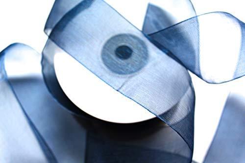 CaPiSo 50m Organza 40mm Breite 4cm Organzaband Schleifenband Geschenkband Organza (Nachtblau)