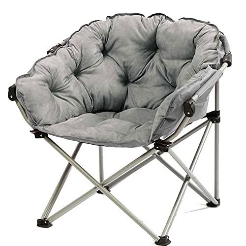 LLMY liegestuhl Klappbare Campingliege, Metall Soft Moon Stuhl, Geräuschlose rutschfeste Gummihülle, Verdicktes Stahlrohr, für Erwachsene Kinder(Color:Grau)