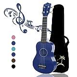 Strong Wind 21 pouces ukulélé pour débutants, guitare enfants à quatre cordes en bois Ukulele Soprano Bleu (avec sac de concert)