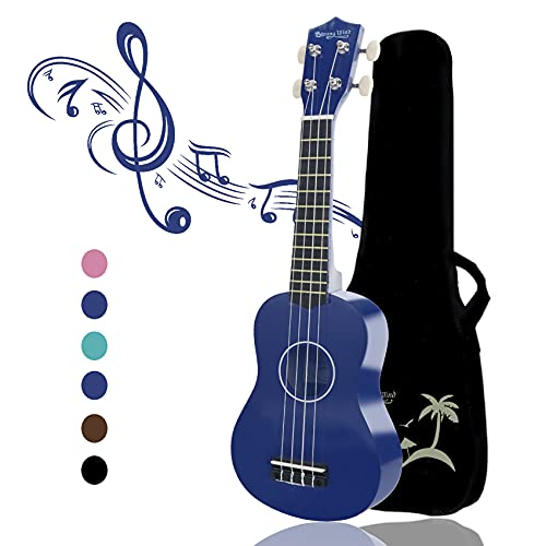 Strong Wind Ukelele soprano para principiantes Guitarra para niños de 21 pulgadas y 4 nylon cuerdas Un regalo de instrumento musical adecuado para niños amigos y principiantes Con bolsa (Azul)