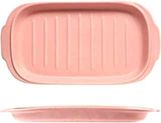 Lasagna Pan Rectangular Binaural Striped Baking Pan Cheese Pan Western Plate Microwave Baking Dedicated Baking Pan Multi Baker Dish (Color : Pink, Size : One size)