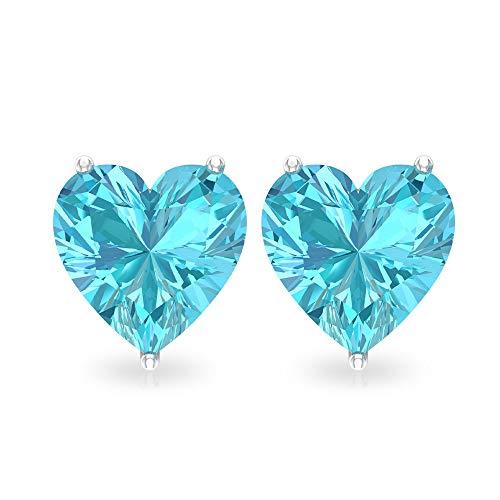 Orecchini a perno con topazio blu 3 ct, certificato SGL a forma di cuore, orecchini per damigella d'onore, orecchini solitari per matrimonio 18K Oro bianco, Paio