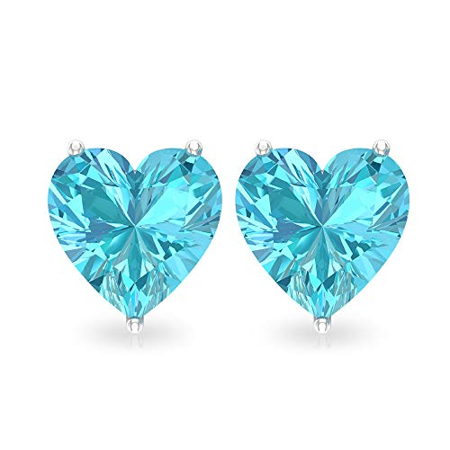 Rosec Jewels 10 quilates oro rosa corazón Blue Topacio azul - Suizo