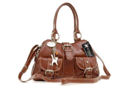 Catwalk Collection Handbags - Leder - Umhängetasche/Henkeltasche - Handtasche mit Schultergurt/Schultertasche - FAITH - Hellbraun
