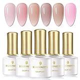 BORN PRETTY Nude Jelly Gel Polish Transparent Love Pink Soak Off UV LED Gel Nail Polish Sheer Gel Nail Varnish UV Gel Varnish 6ml 6 Bottles Set