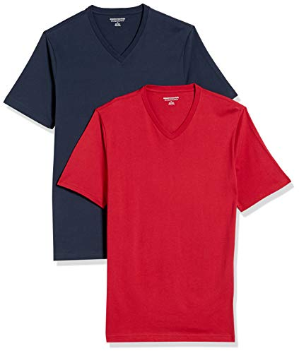 Amazon Essentials 2-pack Slim-fit V-neck T-shirt undershirts, marineblau / rot, Medium