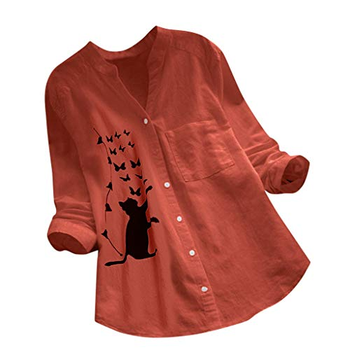URIBAKE Blouse for Women Casual Cotton Linen Cat Printed Long Sleeve Shirt Fashion Solid Color Loose Button Down Tops