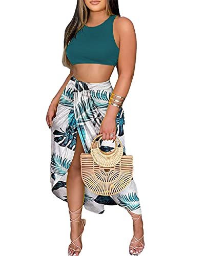 ZOCAVIA Women 2 Piece Dress Outfits Strapless Tie Front Ruffle Bandeau Crop Tops Maxi Skirt Sundress Set,Color5,L