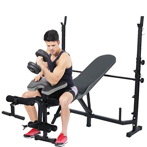 Adjustable Olympic Weight Benches, Weight Benches for Full Body Workout Set Multifunctional Weight-Lifting Bed Weight-Lifting Machine Fitness Equipment【US in Stock】
