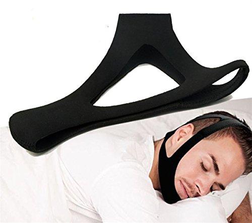 Anti-ronquidos correa para la barbilla y mandíbula apoyo cinturón - NATURAL Sleep, alivio instantáneo - Cierre de velcro ajustable - non-sliding Off - Cómoda, transpirable, tejido