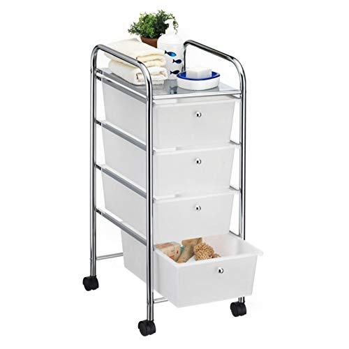 CARO-Möbel Bad Rollwagen SANO Rollcontainer Haushaltswagen Badtrolley Badregal aus verchromtem Metall mit 4 Schubladen