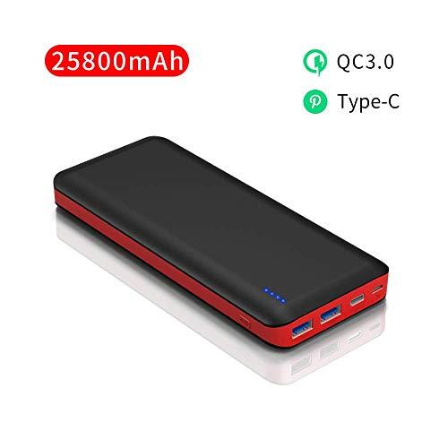 Power Bank 25800mAh Externer Akku Schnellladung QC3.0 mit 2 USB und Typ-C Ports Powerbank mit 4 LED-Betriebsanzeige für iPhoneXS max/XS/X/8/7 iPad Samsung Huawei Tablet Kamera PSP und Andere Gerät