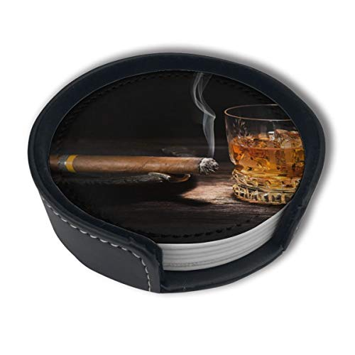 Happy Whiskey Cigar PU Leather Coasters,Round Drinks Pads With Holder Set, Cups Mugs Mats For Home And Kitchen(6PCS)