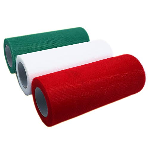 Gnognauq 3 Colors(6 Inches by 25 Yards/Spool)Christmas Tulle Rolls Tulle Fabric Spool Ribbons for Decoration (White, Green and Red)