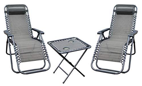 Gartenmöbel Set - 1x Tisch und 2X Stuhl - Metall Gartenliege Gartenstuhl Gartentisch Relaxsessel Liegestuhl - Campingmöbel Set