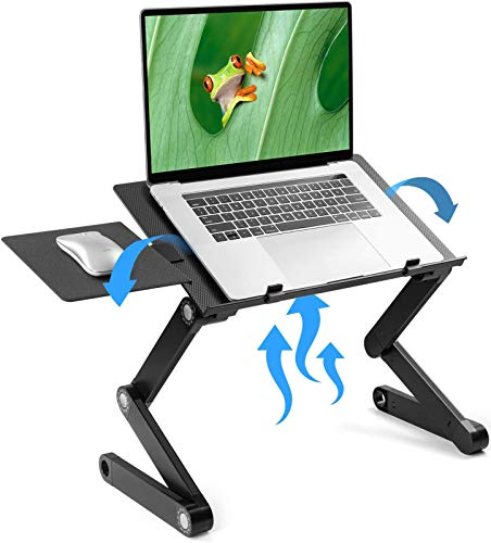 LORYERGO Adjustable Laptop Stand - Laptop Table Stand with 2 CPU Cooling Fans, Portable Laptop Desk forBed & Sofa, Fits up to 15.6 Inch Laptops, Ergonomic Lap Desk Bed Tray Standing Desk