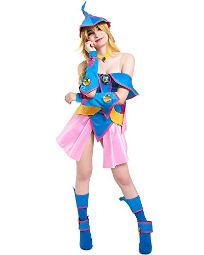 Cosplay.fm Women's Dark Magician Girl Cosplay Costume Outfit with Hat (L, Multicolored)