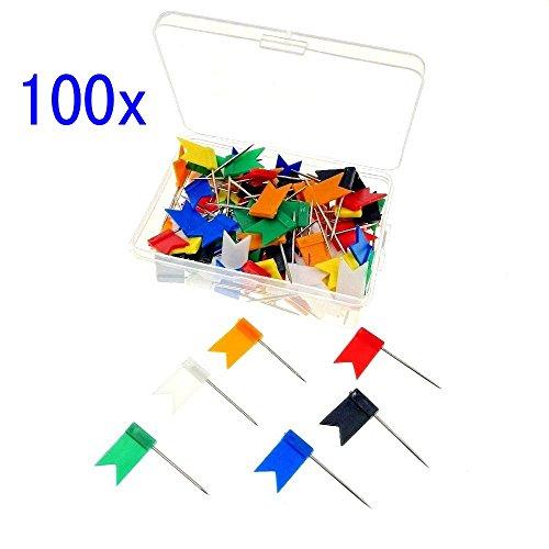 JZK 100 x meerkleurige vlag kop push pins kaart spijkerpen met box, voor kurk bulletin board kaart bord aanslagbord kurkbord prikbord