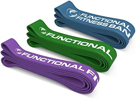 Pull Up Assist Bands Set by Functional Fitness. Heavy Duty Resistance and Assistance Training Band