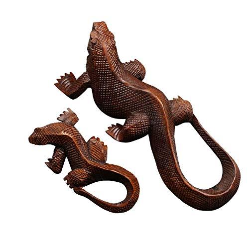 Oriental Galerie Set Gecko Echse Deko Salamander Eidechse Leguan Dekoration Holzfiguren 2er Set