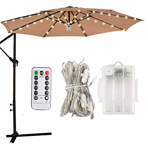Naiyafly Umbrella Lamp Creative Decoration Lighting Waterproof Patio Garden Parasol Lamp Umbrella Light Beach String Lights
