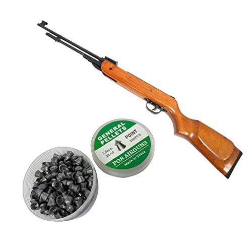 Isaazon Air Pellet Guns Rifle B3-1 5.5mm 22 Calibre 650-600 FPS Safety Lock Wood Handle + 200 Pellets Package