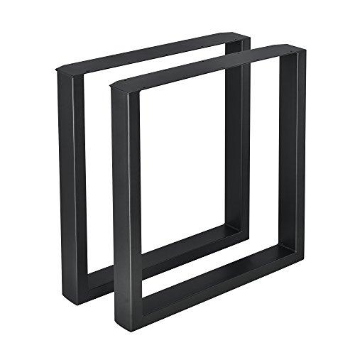 [en.casa] 2 x Conjunto de Patas de Mesa - Set de 2X Patas de Mesa - Metal - Patas de los Muebles - 70 x 72 cm - para Mesa de Comedor - Armazón de Mesa - con protección para Suelo - Negro