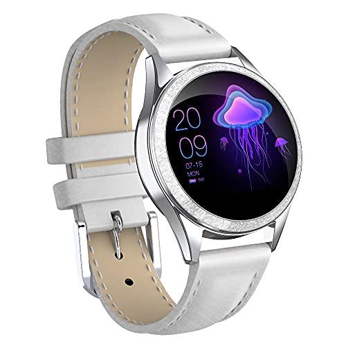 GEQWE Smartwatch Mujeres IP68 Pulsera Inteligente A Prueba De Agua Pantalla Colorida Reloj Inteligente con Podómetro Cardiovascular Reloj Despertador para iPhone Huawei Samsung Xiaomi Sony LG,Blanco
