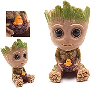 Groot Planter Baby Flowerpot Treeman Succulent Cute Green Plants Flower Pot with Hole Pen Holder, Perfect Gift for Kids, Friends