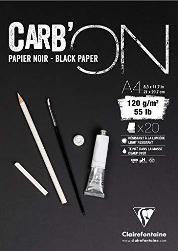 Clairefontaine Carbon blok verlijmd A5 20 vellen 120 g papier kleur zwart Gelijmd blok 21x29,7 cm zwart.