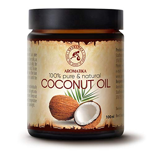 Kokosöl 100ml - Cocos Nucifera - Indonesien - Kaltgepresst - 100% Reines Kokosnussöl Glastiegel - Unraffiniert - Intensive Pflege für Gesicht - Körper - Haare - Haut - Körperpflege Öl