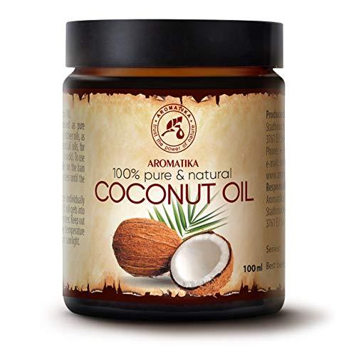 Huile Coco 100ml - Indonésie - Pressée à Froid - 100% Pur & Naturelle - NON Raffiné - Huile de Base - Riche & Minéraux - Visage Soins - Corps - Mains - Lèvres - Cheveux - Pure Coconut Oil