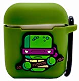 3d ninja turtle case - Airpods Case Cover Ninja Turtle Donatello Design  Includes Metal Hook & Anti-Lost Cable for Headphones   Protective Premium Silicone Dust-Proof & Shock Resistant by Modish TECH