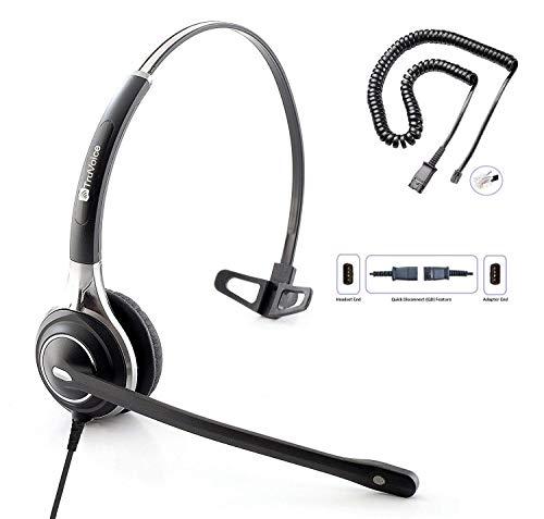 TruVoice HD-700 Premium Single Ear Noise Canceling Mic Office/Call Center Headset with U10P Bottom Cable Works with Mitel, Nortel, Avaya Digital, Polycom, Shoretel, Aastra, Digium, ESI, Allworx + More