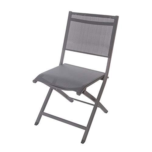 Sedia pieghevole antracite per giardino in alluminio e textilene, da 60x88x47 cm Grigio