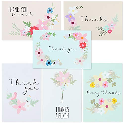 72-Pack Thank You Postkaarten Bulk - Floral Festival Thank You Note Kaarten briefpapier Set, 6 Ontwerpen, 4 x 6 Inches