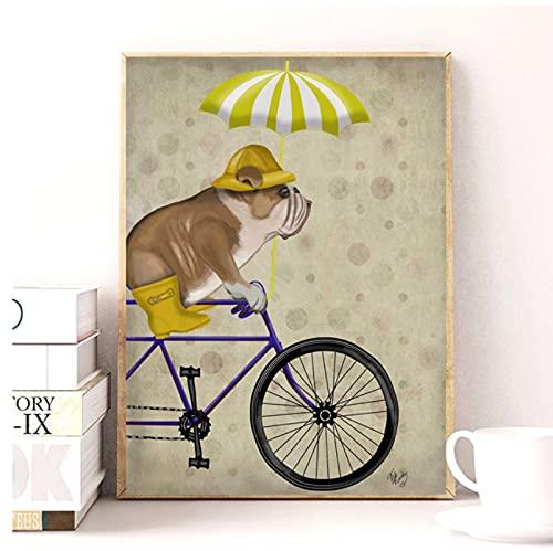 Bulldog inglés bicicleta perro pintura lienzo cuadros para sala de estar perro bicicleta arte de pared carteles e impresiones retro-30x40 cm x1 sin marco