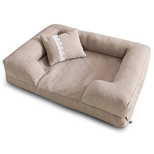 Npeiyi Waschbar Hundebett, bequemes Haustier-Bett-Haustier Sofa, Durable Haustier-Nest-Kissen Antirutsch Pet Lounger Abnehmbare Hundekorb-Bett-Kissen (Color : Gray, Size : M(65x50cm))