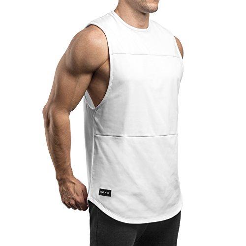 Sixlab Lux Cut Off Tank Top Herren Premium Muskelshirt Gym Fitness (S, Weiß)