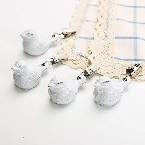 TentHome 4 x Tischdeckenbeschwerer Tischdeckengewichte Antik Gusseisen 'Vogel' Beschwerer für Tischdecke Gartentisch Tischtuchgewichte Tischtuchbommeln (Weiß)