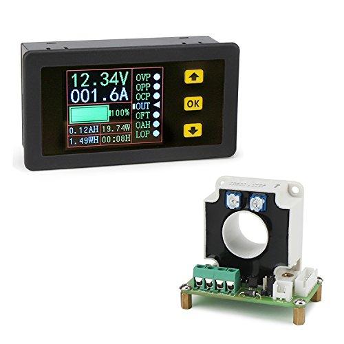 DC Ammeter, DROK Digital DC Multimeter 0-90V 100A Voltmeter Ammeter 12v 24v 30v 48v 60v 80v Voltage Volt Current Amp Power Watt Capacity Time Meter Battery Tester Monitor with LCD Screen Hall Sensor