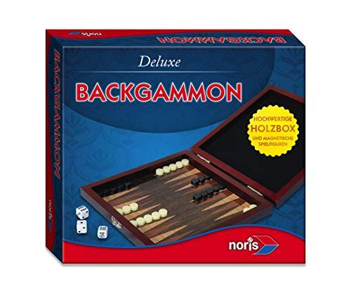Noris 606108004 606108004-Deluxe Reisespiel Backgammon, Spieleklassiker