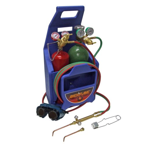 Ameriflame T100T Medium Duty Portable Welding/Brazing Outfit with Plastic Carrying Stand Plus Oxygen and Acetylene Tanks