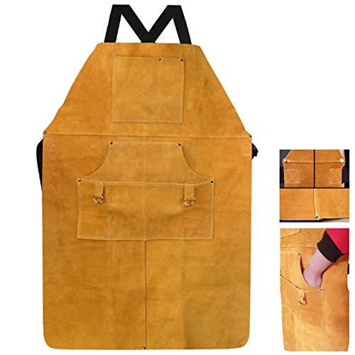 TXYJ Langlebige Güter - Hochleistungs-Arbeitsschürze aus gewachstem Canvas mit Werkzeugtaschen, Kreuzgurten und verstellbar
