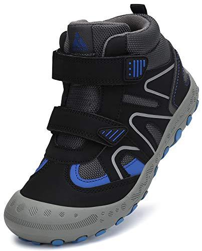 Mishansha Zapatos Senderismo Niños Antideslizante Velcro Calzado Montaña Niño Niña Ligeras Cómoda Zapatillas Trekking Negro Nocturno Gr.30