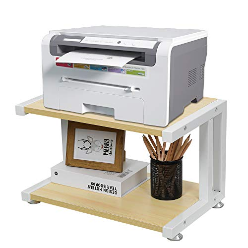 OROPY Hölzerner Druckerständer mit Rutschfesten Einstellfüßen, 2 Stufiger Desktop Aufbewahrungsorganiser für Drucker, Fax, Scanner, Dokumentenablage, Bürobedarf, 44x28x28cm, Natürliche Holzfarbe
