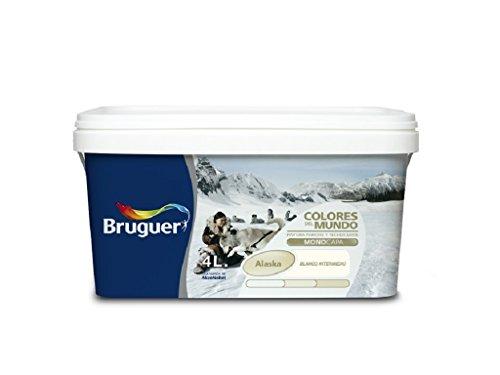 BRUGUER 5057355 Pintura PLÁSTICA Colores Mundo Alaska BCO.INT. 4 L, Negro