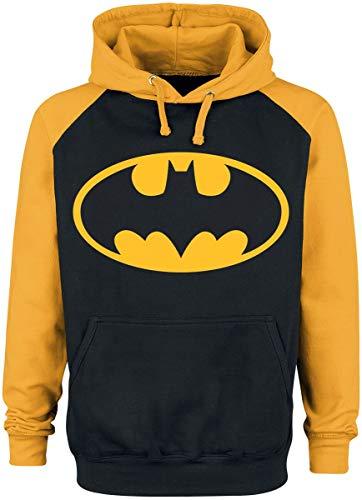 Batman Logo Uomo Felpa con Cappuccio Nero/Giallo XXL 80% Cotone, 20% Poliestere Regular