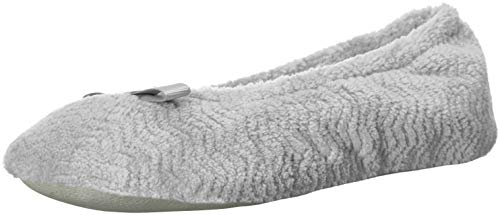 isotoner Women's Chevron Microterry Ballerina House Slipper with Moisture Wicking and Fabric Sole for Comfort, Light Grey, X-Large / 9.5-10.5 US