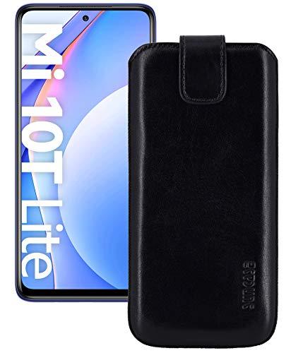 Suncase ECHT Ledertasche Leder Etui *Slim-Edition* kompatibel mit Xiaomi Mi 10T Lite Hülle (mit Rückzugsfunktion & Magnetverschluss) in schwarz